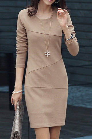 A| Chicloth Solid Long Sleeve Sheath Dress
