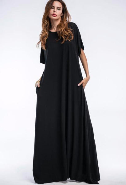 Chicloth Black Shift Full Length Dress With Pockets - Chicloth