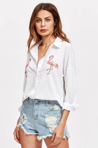A| Chicloth Embroidered Flamingo Patch Dolphin Hem Shirt - Chicloth