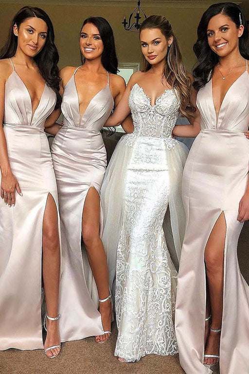 Chicloth V Neck Straps Long Maid Of Honor Bridesmaid Dresses
