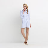 Chicloth Sweet Light Blue Striped Shirt Dress