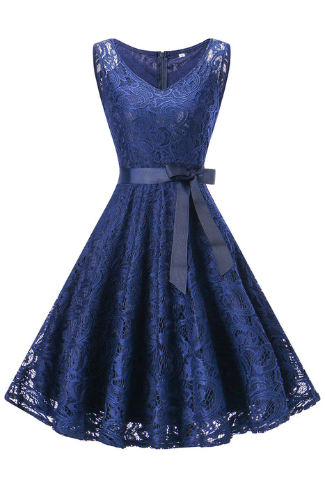 A| Chicoth Vintage Floral Lace Pleated Dress Women Sleeveless V-Neck Elegant Party Sexy Dresses-Chicloth