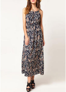 B| Chicloth Bohemian Floral Spaghetti Strap Summer Maxi Dress