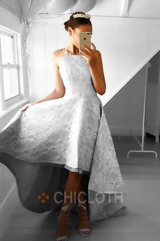 A-Line Square Sleeveless Asymmetry Grey Satin Prom Dress with Lace