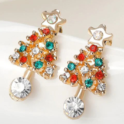 Chicloth Acrylic Rhinestones Hollow Out Christmas Tree Earrings (2 Pieces)-Christmas Jewelry-Chicloth