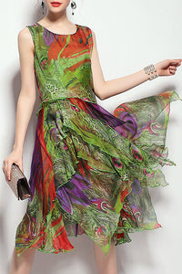A| Chicloth Green Midi Dress Daytime Asymmetric Floral Dress