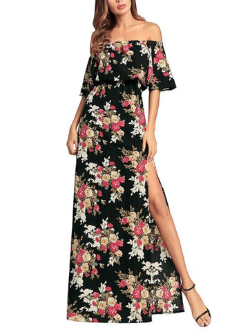 B| Chicloth Women Maxi Chiffon Dress Floral Print High Split Sundress Beach Long Dress