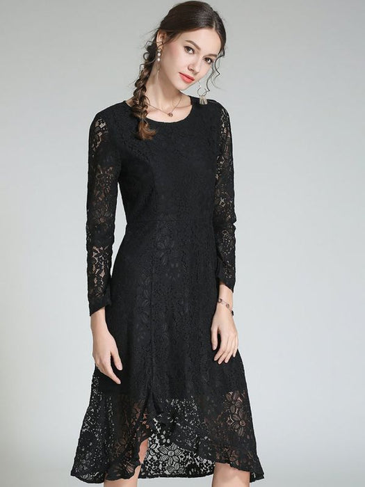Asymmetrical Daily Casual Guipure lace Prom Dresses-Prom Dresses-Chicloth