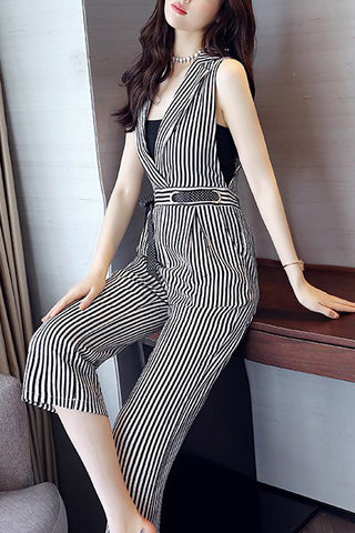 b272164b5511 Chicloth Sleeveless Striped Elegant Printed Lapel Jumpsuit-Chicloth