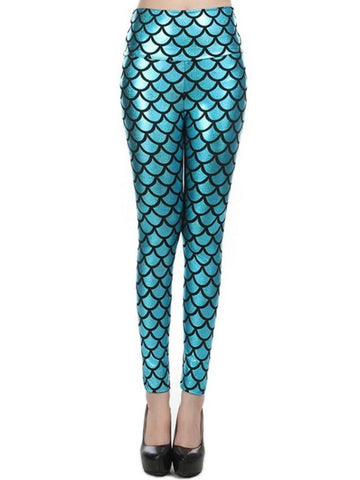 New Stylish Mermaid High-Waisted Nightclub Stage Fish Scale Ripple Leggings
