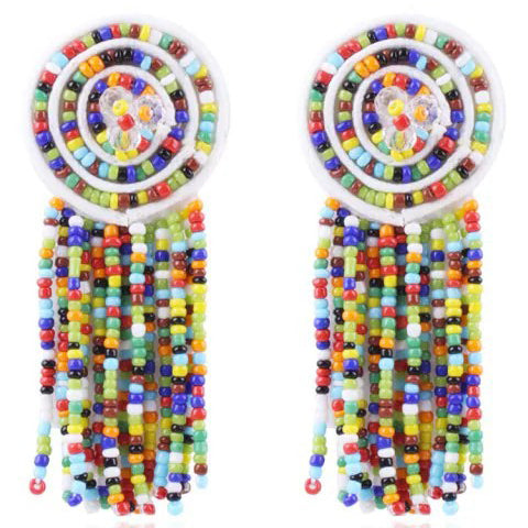Chicloth Boho Circle Tassels Dangle Earrings-jewelries-Chicloth