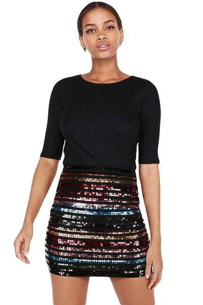 Z| Chicloth Multicolor High Waist Sequin Mini Skirt
