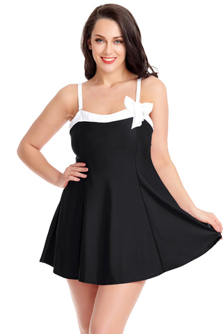 Z| Chicloth Solid Black Swimdress With Panty