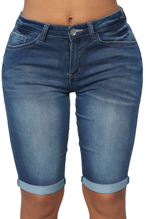 Z| Chicloth Take Me To The Beach Blue Wash Bermuda Shorts-Jeans-Chicloth