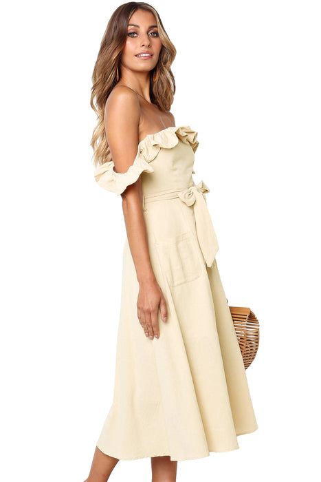 Z| Chicloth Beige Dawn Dress-Midi Dresses-Chicloth