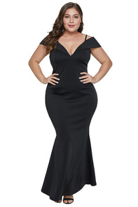 Z| Chicloth Black Short Sleeve Plus Size Slit Longline Dress-Plus Size Dresses-Chicloth