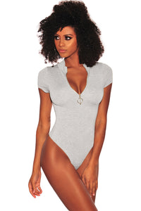 Z| Chicloth Heather Gray Silver O-Ring Zipper Bodysuit-Bodysuits-Chicloth