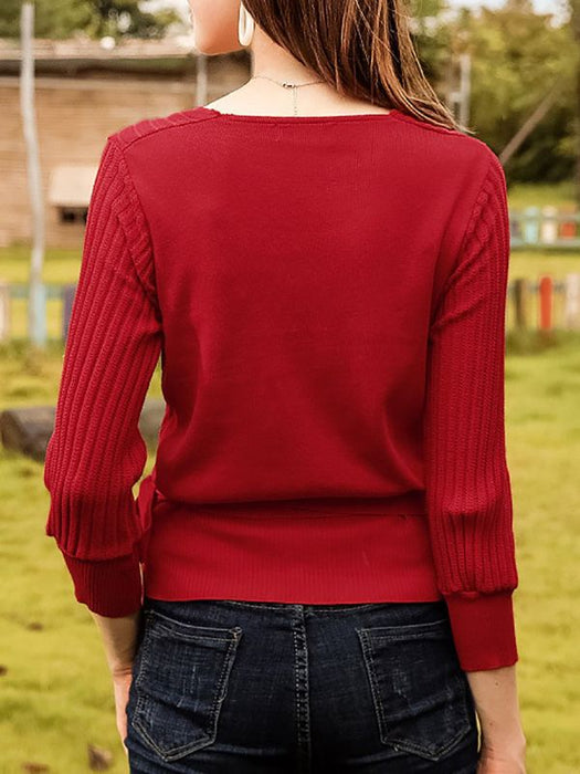 Casual Long Sleeve Shift V Sweaters-Sweaters-Chicloth