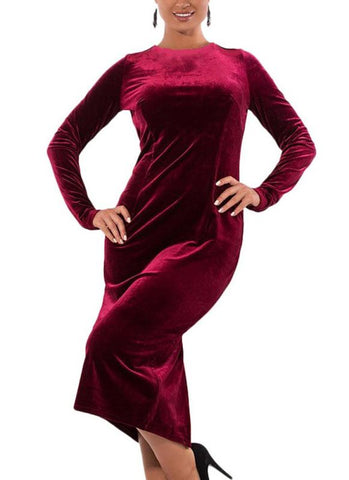 B| Chicloth Plus Size Velvet O-Neck Long Sleeves Split Elegant Midi Dresses