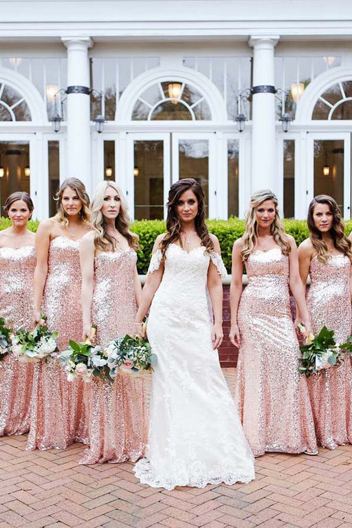 Chicloth Sequined Sweetheart Maid Of Honor Bridesmaid Dresses