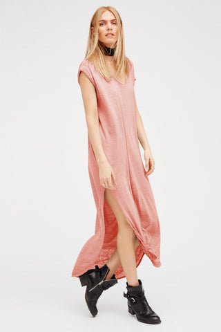 Chicloth Pink Side Split Maxi Dress-Chicloth