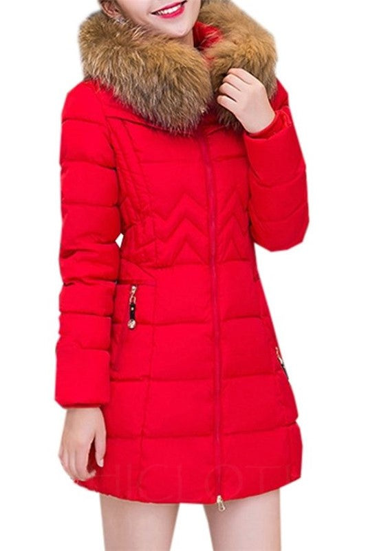 Chicloth Plain Fur Collar With Zips Comfortable Overcoat-Faux Fur Coats-Chicloth
