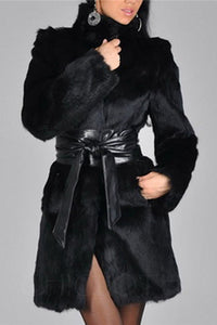 Chicloth Faux Fur Glamorous High Neck Overcoats-Faux Fur Coats-Chicloth