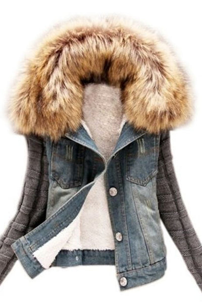 Chicloth Patchwork Fur Collar Stylish Overcoat-Faux Fur Coats-Chicloth