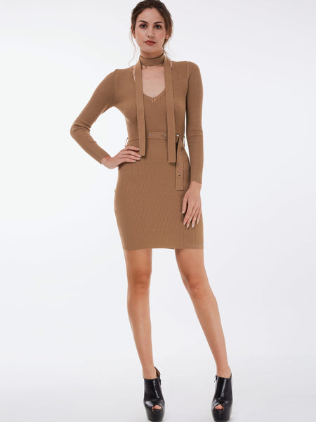 Chicloth Camel V-Neck Belt Bodycon Knitted Dress-Dress-Chicloth