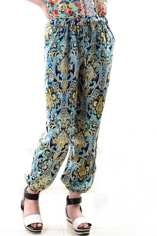 B| Chicloth Fahion Trousers Floral Printing Large Size-Chicloth