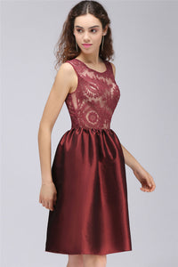 AA| Chicloth A-Line Jewel Short Taffeta Burgundy Sheer Cocktail Dresses