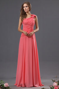B| Chicloth A-Line Chiffon One Shoulder Floor Length Bridesmaid Dresses - Chicloth