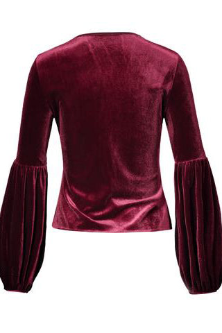 Chicloth Birgundy Suede Hollow Neck Lantern Sleeve Top - Chicloth