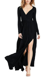 B| Chicloth Sexy Women Maxi Dress Plunging V Neck High Split Long Sleeve Bandage Solid Slim Elegant Long Dress