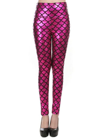 New Street Style Slim Sexy High-Waisted Rose Red Mermaid Fish Scale Imitation Leather Leggings