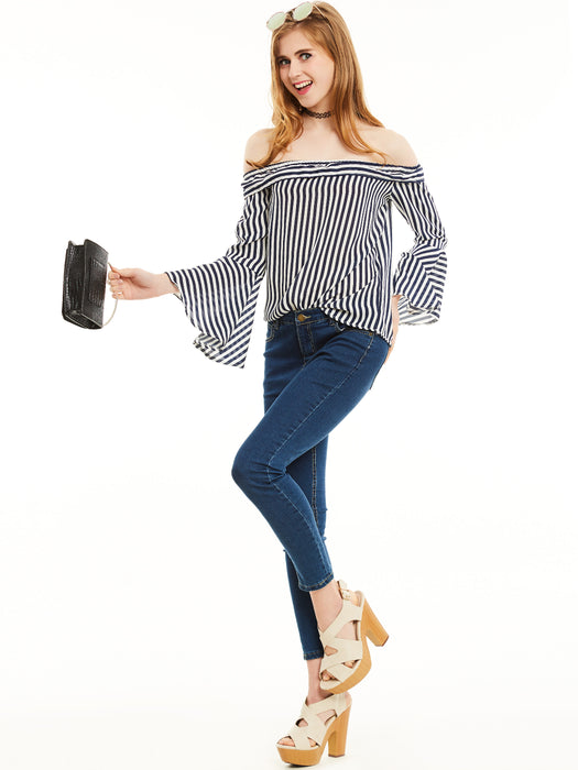 Chicloth Blue Slim Stripe Slash Neck Flare Sleeves Blouse-Blouse-Chicloth