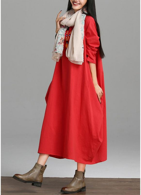 B/ Chicloth Vintage Women Loose Dress Solid Color Pocket Maxi Gown One-Piece - Red / S