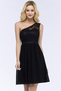 AA| Chicloth A-Line Short One-Shoulder Lace Top Chiffon Homecoming Dresses With Sash