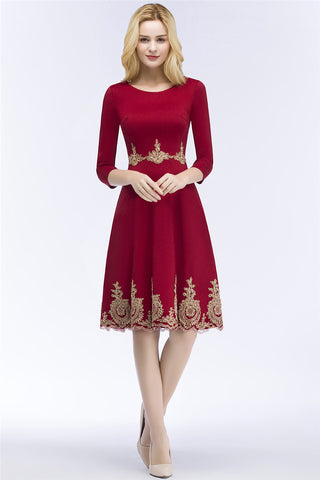 AA| Chicloth A-Line Knee Length Burgundy Appliques Homecoming Dresses With Sleeves