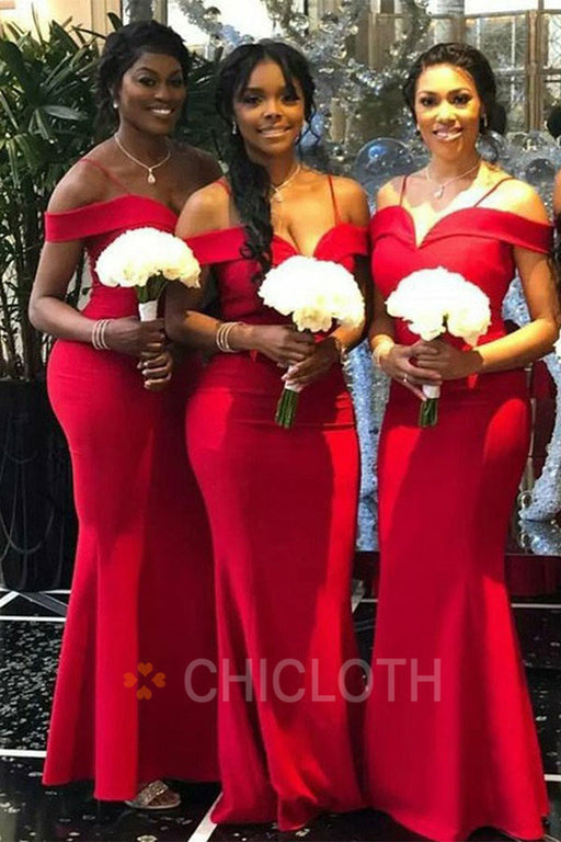 Chicloth Off The Shoulder Satin Bridesmaid Dresses