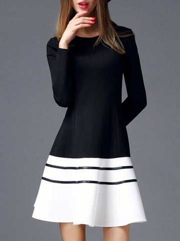 Black-white Long Sleeve Crew Neck Casual A-line Midi Dress