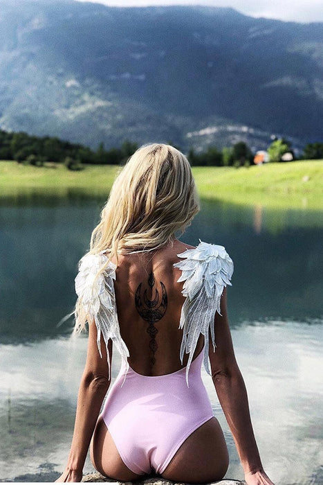 AA| Chicloth Bird Wings Design Women Swimsuit One Pieces-swimwears-Chicloth