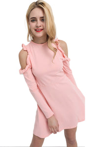 Chicloth Pearl Pink Bare Shoulder Dress-Chicloth