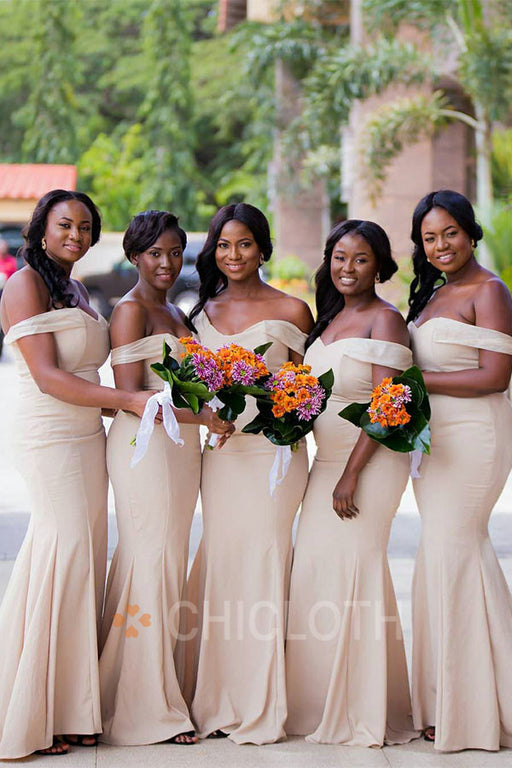 Chicloth  Off The Shoulder Satin Mermaid Bridesmaid Dresses