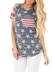 B| Chicloth American Flag Start Striped Print O-Neck Short Sleeves Irregular Casual Top