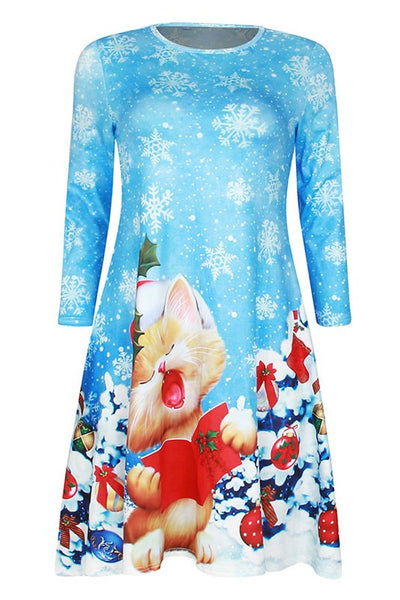 Blue Christmas Snowflake Cartoon Cat Printed Three-quarter Sleeve Swing Short Dresses-Christmas Fashions-Chicloth