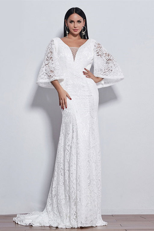 Chicloth New Flare Sleeve Style Lace Mermaid Wedding Dress