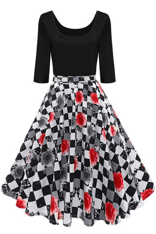 B| Chicloth Black And White Plaid Red Floral Print Summer Dress - Chicloth