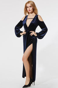 A| Chicloth Deep V-Neck Long Sleeve Cold Shoulder Evening Dress - Chicloth
