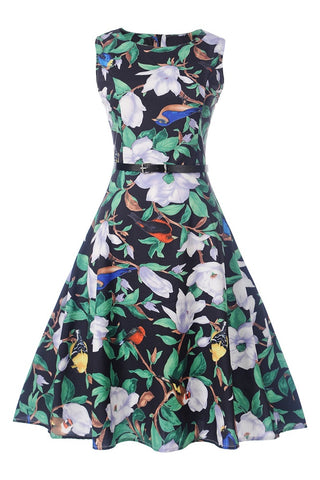 B| Chicloth Elegant Green Dress Women Big Floral Print Ball Sleeveless Party Dress - Chicloth